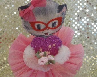 Retro Kitty Cat Chenille Paper Doll