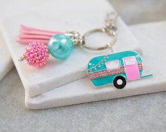 Camper Key Chain, Retro Camper Key Chain, Camper, Camping Key Chain, Glamping, Tassel Key Chain, Vintage Camper, Vintage Caravan
