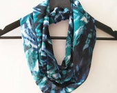 Teal Infinity Scarf, Tribal Scarf, Fall Infinity Scarf, Printed Scarf, Gift For Wife, Lightweight Scarves, Blue and Black Scarf