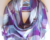 Pastel Blanket Scarf, Plaid Blanket Scarf, Blue Purple Plaid Scarves, Winter Scarf, Cotton Scarf, Oversized Scarf