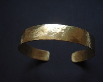 Hammered Bronze Cuff Bracelet Modern Simplistic Metalwork Bracelet Adjustable Skinny Band Bracelet Contemporary Minimalist Cuff