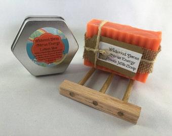 Energy Goat Milk Soap & Lotion Bar with Oak Soap Dish: Gift Set