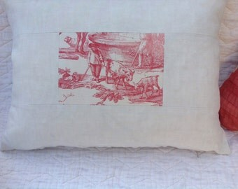 Vintage Fench linen fabric cushion