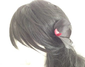 Burgundy and black satin on a hair pin Butterfly