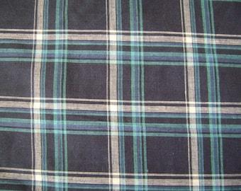 Madras Checks Blue Cotton Fabric by the yard