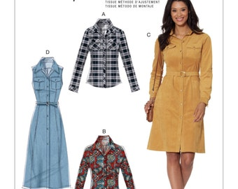 McCall's Pattern   M7470 Misses' Button-Down Shirt and Shirtdresses with Belt
