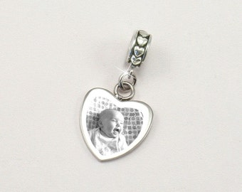 Engraved Photo Heart Charm with reverse engraving to fit Pandora Bracelets.