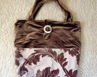 oversized bag, large tote, velvet purse, neutral bag, velveteen chenille bag, taupe bag, carryall, overnight bag