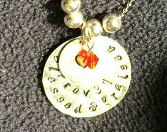Hand Stamped Name, Monogram, Initial, Verse, Word, or Phrase Necklace