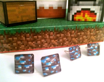 Minecraft Inspired Diamond Block Stud Earrings