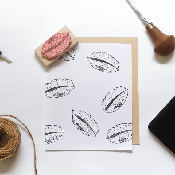 Mackerel Sushi Linocut Stamp - Handmade Linocut Stamp Rubber Stamp