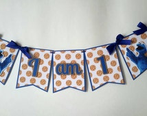 Cookie Monster Banner. I Am One Birthday Banner.Boy First Party.Toddler Birthday Party. High Chair Blue Banner.Sesame Street. First Birthday
