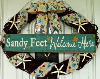 Beach Wreath, Summer Wreath, Starfish Wreath, Welcome Wreath, Shabby Chic Wreath, Coastal, Grapevine Wreath, Door Wreath, Door Decoration