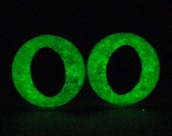7.5mm Glow In The Dark Cat Eyes, Metallic Green Safety Eyes With Green Glow, 1 Pair Of Glow In The Dark Safety Eyes