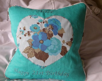 Personalised 21st birthday flower and medic cushion, personalised pillow, customised for age, name and theme