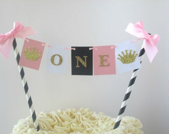 Girl First Princess Party Princess Birthday Pink Gold Party Pink Princess Party One Cake Topper One Cake Bunting Princess Cake Topper
