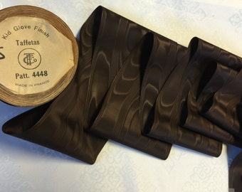 Vintage Moire Taffeta Ribbon, Brown Moire Ribbons,5 inches wide,  Rayon Ribbons, Made in France. Sold by the Yard.