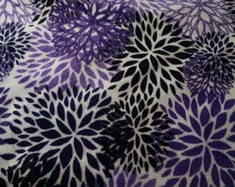 Purple Floral Minky--Stay Dry - Stain Resistant Fabric-- Choose Length - Absorbency - Eco Friendly - Healthy Alternative - Reusable - Cloth