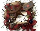 Barn Wreath, 4th of July Burlap Wreath, Barn Star Wreath, Stars and Stripes Wreath, Red White Blue Wreath, Burlap Wreath, Grapevine Wreath