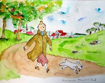 TIN TIN HOLIDAY / Original Watercolor / by Rovira Rusiñol / 35 by 25 cm