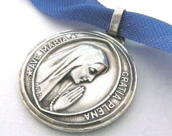 Vintage French Ave Maria Medal, Our Lady of Lourdes