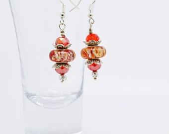 Red drop earrings, Red Earrings, Silver earrings, glass and crystal earrings, Red jewellery, crystal earrings, drop earrings