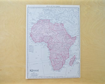 1913 - Africa Map - Large Antique Map - Beautiful Old Map of Africa - Large Vintage Map - Colorful Atlas Map - Gift - Home Decor