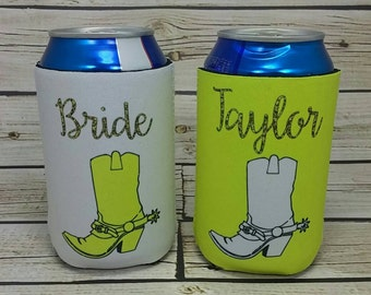 nashville bachelorette cowboy boot can coolers / glitter bachelorette party can coolers / nash bash nash bach/bachelorette favors