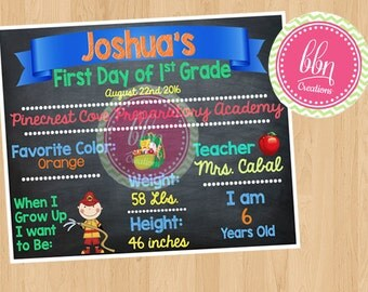 Printable 1st Day of School BlackBoard Picture Prop