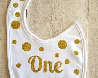 One bib - First Birthday Bib - Gold spots