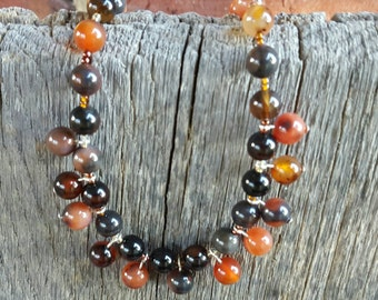 Sardonyx Necklace, Autumn Colors, Sardonyx Jewelry, Orange and Black, Autumn Necklace, Gemstone Jewelry, Statement Necklace
