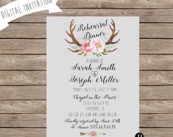 NEW! Antler Rehearsal Dinner Invitation - Rustic Wedding- Digital File
