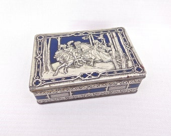 Riley's Toffee Tin Medieval Falconry/Hunting Scene - Vintage Collectable Tin -  3D Embossed Lid, Metal Candy Tin, Made in England