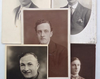 Pack of 5 Vintage Portrait Photograph Postcards of 1900s to 1940s Men - Gentleman Costume Fashion Suits - Edwardian and Later Postcards