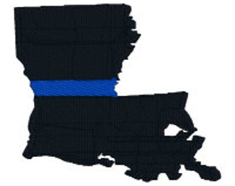 "BUY2GET1FREE - 2"", 3"", 4"", 5"" Machine Embroidery Design - Louisiana Thin Blue Line Police Officer Support - Blue Lives Matter"