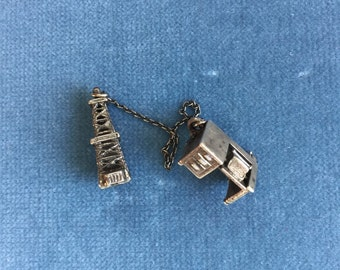 Vintage Silver Oil Derrick Charm/ pin and Desk with Movable Top With Typewriter