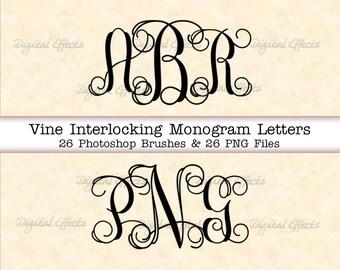 PHOTOSHOP Brushes, Vine Monogram Alphabet Letter Brushes, 26 ABR & 26 PNG  Files, Interlocking Vine Monogram Font Photoshop Brushes