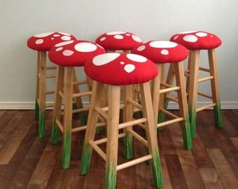 24  Mushroom Bar Stool Beech Wood Bar Stools Set of 2 Counter & Mushroom Stool Video Game Theme Custom Furniture Game Room islam-shia.org