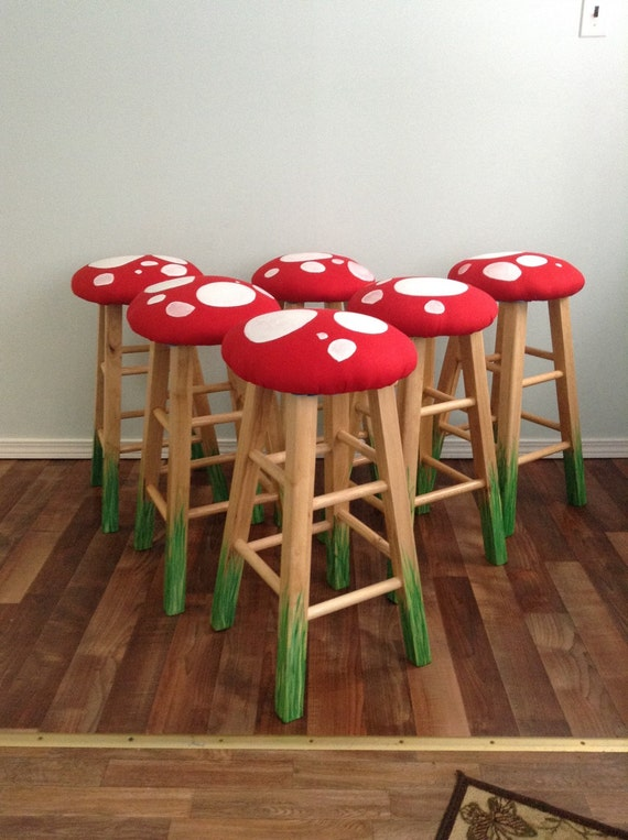 "24"" Mushroom Bar Stool,  Beech Wood Bar Stools, Set of 2, Counter Stool, Bar Stool, Whimsy Mushroom Stools, Wooden Stools, Mushroom Seats"