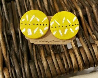 Wooden earrings, handmade earrings, statement earrings, handpainted earrings, stud earrings