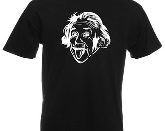 Albert Einstein Sticking Out His Tongue Custom T-Shirt Design / Mens Crazy Funny Sciencist Face Shirt + Free Decal Gift