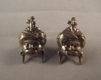 Sterling Garuda Earrings, Hindu Deity, Hindu God, Winged God, Vintage Earrings, Screwbacks, Vintage Indian Jewelry, Tribal Head