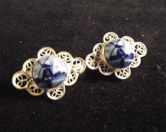 Blue Delft  Brooch  with Silver Scroll Work, Vintage Jewelry,European Degisn, Gift under thirty dollar