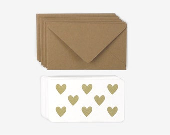 Gold Hearts Mini Note Set - 12 mini note cards and envelopes