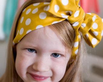 Baby headband ; yellow pokDot fabric head wrap; newborn headband; baby headband; toddler headband; adult headband; girl headwrap