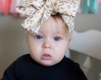 Baby headband; gold cheetah headwrap; fabric head wrap; newborn headband; baby headband; toddler headband; adult headband; girl headwr