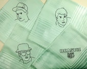 Beastie Boys - Hand Embroidered vintage cocktail napkins, mint green - Ad Rock, MCA, Mike D