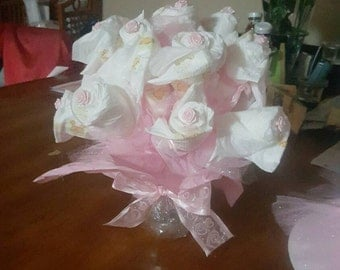 Beautiful pink diaper bouquet