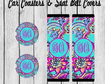 Monogram Car Coaster, Personalized, Seat Belt Cover, Lilly Pulitzer Inspired Shoulder Belt Cover, Personalized Gift for women