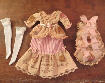 "OOAK ""French Macaroons"" 4 pc. Parisian Gown set for Blythe or similar sized dolls"